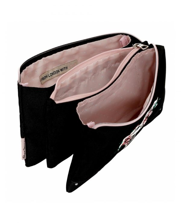 estuche-tres-compartimentos-armade-pepe-jeans-negro-6374361-22cm portatodo pepe jeans alicess